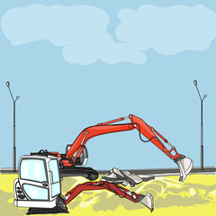 vector excavator at construction site