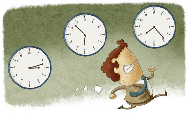 Illustration of a businessman running out of time