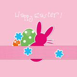Happy easter,background,ribbon,flowers,vector,pink