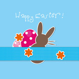 happy easter,bunny,eggs,flowers,background,vector