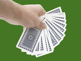 Man hand holding cards on green background with clipping path