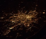 aerial shot of a city at night