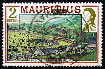 Postage stamp Mauritius 1989 Champ de Mars Race Course, 1870