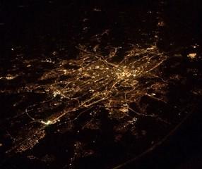 aerial shot of a city at night