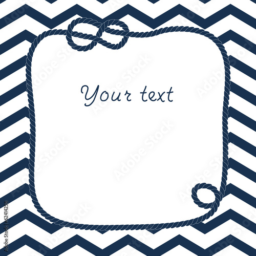 Blue and white rope with marine knot frame on chevron background