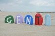 Genti, albanian male name on colourful stones