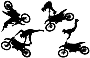 Vector silhouette of motocross.