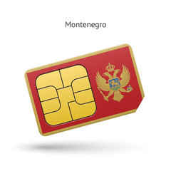 Montenegro mobile phone sim card with flag.