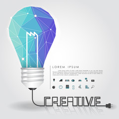 polygon idea light bulb with business icon and creative line
