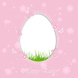 Pink Easter background with egg