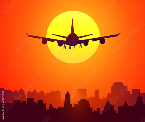 City Sunset & Afternoon Flight-Vector