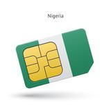 Nigeria mobile phone sim card with flag.