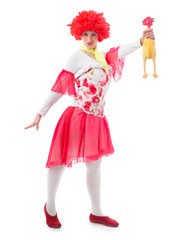 Woman clown with red hair