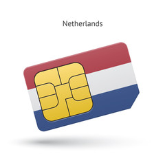 Netherlands mobile phone sim card with flag.