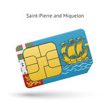 Saint-Pierre and Miquelon mobile phone sim card with flag.