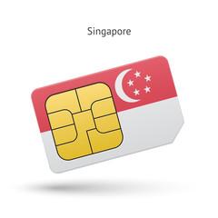 Singapore mobile phone sim card with flag.