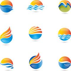 Logo, 3D, Zeichen, Symbol, Vektor, Wellen, Sonne