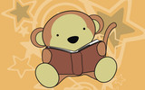 monkey sweet reading cartoon background