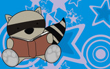 raccoon baby reading cartoon background