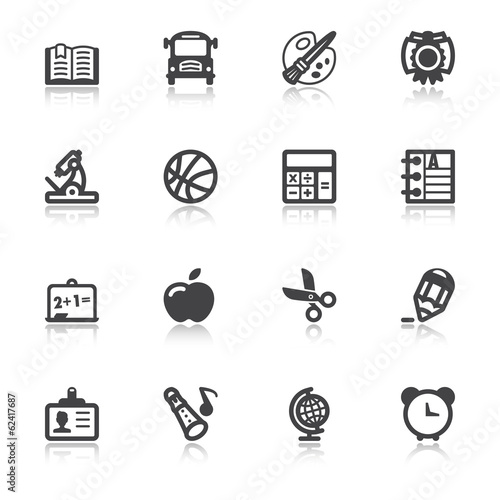 School flat icons with reflection
