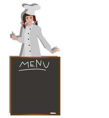ragazza chef e lavagna per il menù