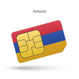 Armenia mobile phone sim card with flag.