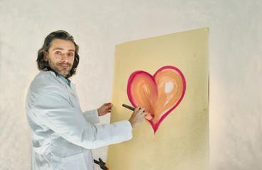 artist painting heart