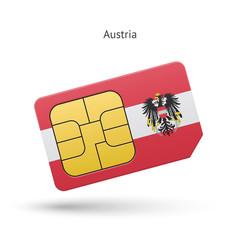Austria mobile phone sim card with flag.