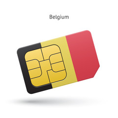 Belgium mobile phone sim card with flag.
