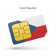 Czech Republic mobile phone sim card with flag.