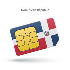 Dominican Republic mobile phone sim card with flag.
