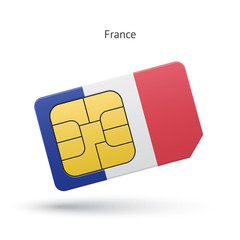 France mobile phone sim card with flag.