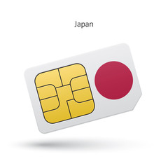 Japan mobile phone sim card with flag.