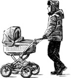 young man walking with a baby carriage