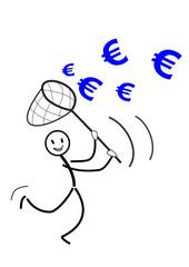 Strichmännchen fängt Euro