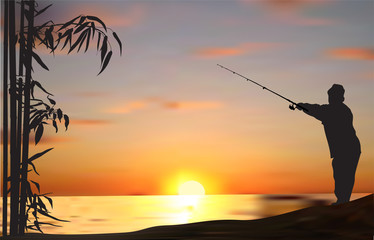 fisherman and bamboo silhouette at sunset