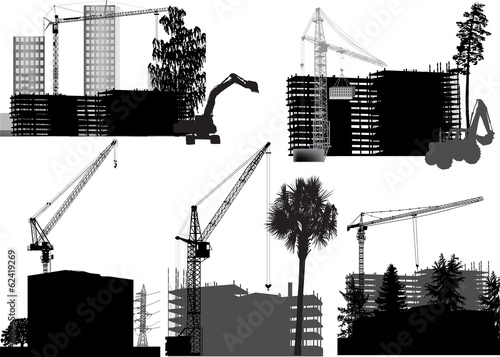 five buildings and cranes on white