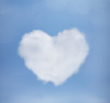 blue sky with heart from clouds