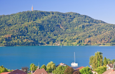 Resort Portschach am Worthersee and Lake Worthersee. Austria