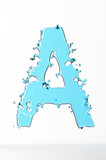 Water splashes letter A