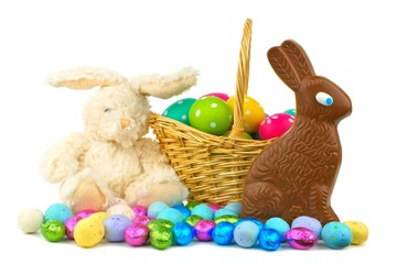 Collection of Easter candies, eggs and toys
