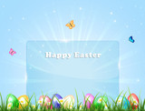 Easter banner with eggs