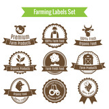 Farming harvesting and agriculture badges or labels set