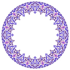 Abstract vector circle floral ornamental border
