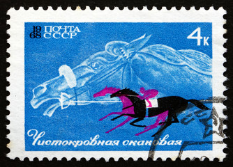 Postage stamp Russia 1968 Thoroughbread and Horse Race