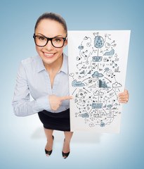 smiling businesswoman with white board with plan