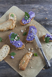 bruschetta crunch with purple cabbage cream and sunflower seeds