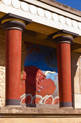 Details of Knossos palace near Heraklion, island of Crete