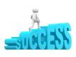 3d man steps up on success text ladder.