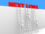3d  person - man, person with ladder. Next level. Progress conce